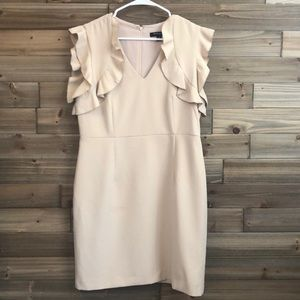 Sharagano Cream Ruffle Sleeve Dress Size 12P